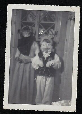 Old Vintage Antique ORIG. Photograph Two Children in Creepy Halloween Costumes