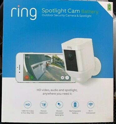 NEW SEALED Ring WHITE Spotlight Cam Battery Powered Security Camera 8SB1S7-BEN0