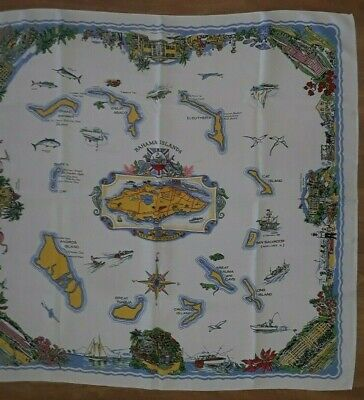 """Vintage Bahama Islands New Providence Rayon Tablecloth 46"""" x 48"""" Made in Ireland"""