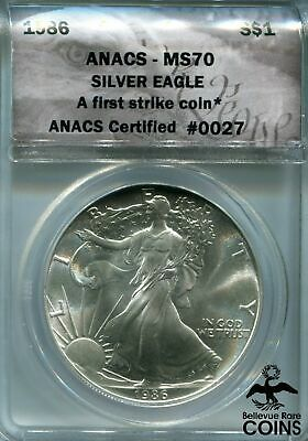 1986 US $1 American Silver (.999) Eagle 1 Troy oz Coin ANACS MS70 First Strike