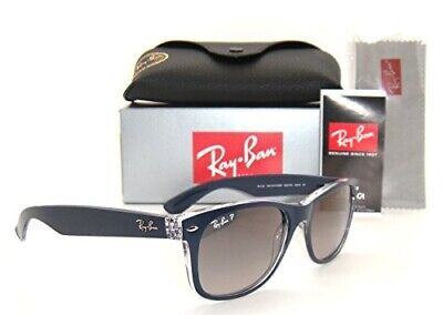 Authentic Ray-Ban Wayfarer Rb 2132 6053/M3 55Mm Blue / Grey Gradient Polarized