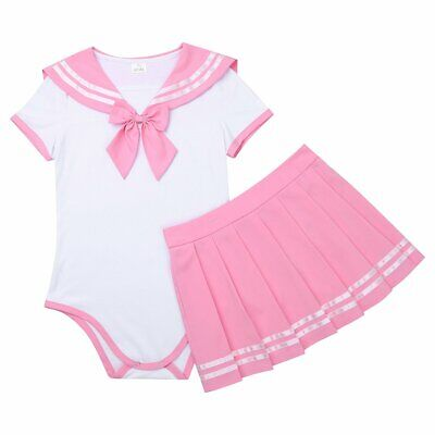 Freebily Adult Baby Diaper Lover (ABDL) Snap Crotch Romper Pajamas Cosplay Skirt