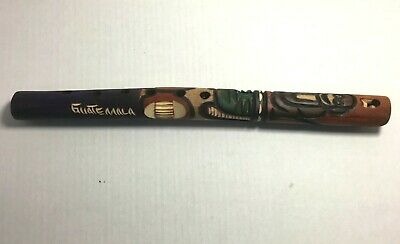 Handmade Hand-Carved Guatemala Decorative Wooden Flute Bamboo Musical Instrument