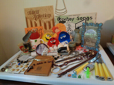 Vintage Junk Drawer Estate Lot Jewelry, Sake Set, Table Knives, Cards, Frame