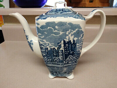 Johnson Bros Old Britain Castles Blue Coffee / Tea Pot Transferware