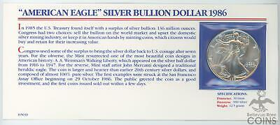 1986-S United States American Silver Eagle 1 oz .999 with Specification Card