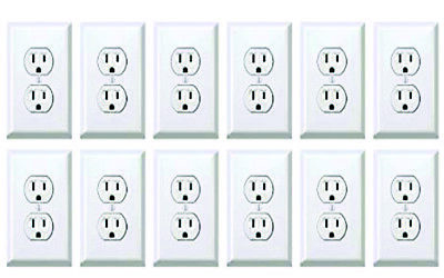 12 Packs Of 25 Power Outlet Stickers electrical  Prank Fake Joke Funny 300 Total