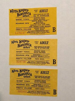 """3 Knotts Berry Farm Adult """"B"""" Ride Tickets With Diff Serial Numbers - 6315"""