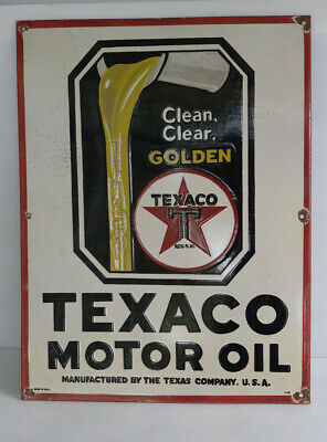 "TEXACO MOTOR OIL Spigot Can Porcelain Sign ""Clean Clear Golden"""