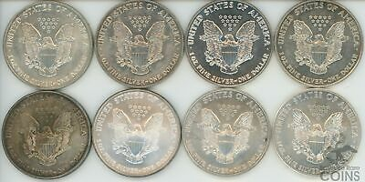 Set of 8 - United States $1 Toned 1oz .999 Silver American Silver Eagle Coins!