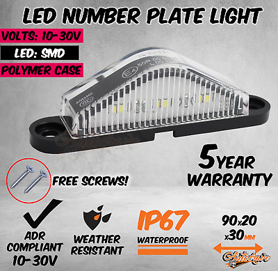 Led License Number Plate Light Lamp Truck Caravan Trailer Boat 10-30V Van Ute