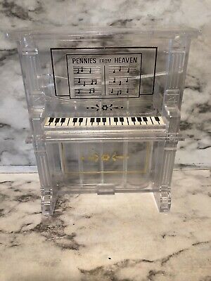 """Vintage Clear Lucite Coin-Sorter Piano Bank """"Pennies From Heaven"""" Piggy Bank"""