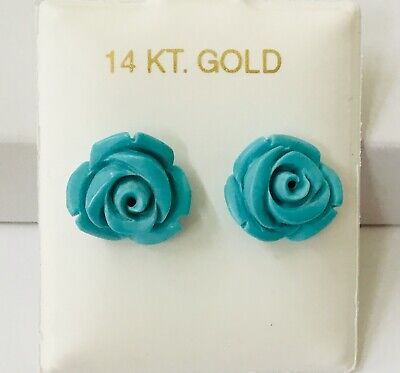 14K Gold  Hand Carved Rose Natural Turquoise Stud Earring NEW