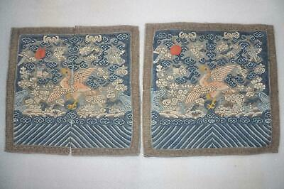 Pair of Antique Chinese Qing Dynasty Kesi Rank Badges - Wild Geese