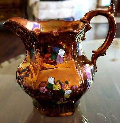 English Antique Hand Painted Floral Enameled Copper Luster Pitcher