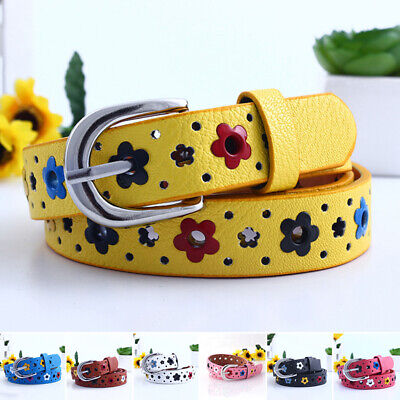 "Kids Classic Leather Belts - 0.9"" Wide 3 Colors Unisex Girls Boys Dress Belts"