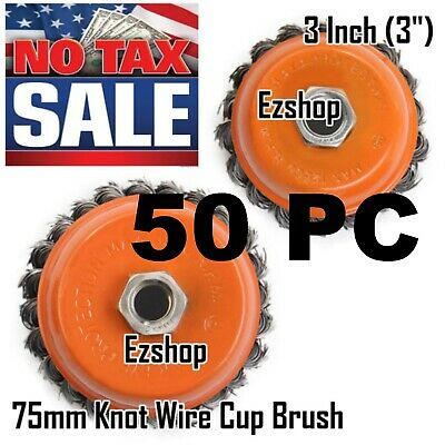 "50 Cup Wire Brush Wheel 3"" (75mm) for 4-1/2"" (115mm) Angle Grinder Twist Knot"