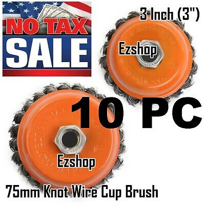 "10 Cup Wire Brush Wheel 3"" (75mm) for 4-1/2"" (115mm) Angle Grinder Twist Knot"