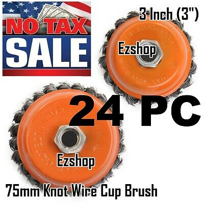 "24 Cup Wire Brush Wheel 3"" (75mm) for 4-1/2"" (115mm) Angle Grinder Twist Knot"