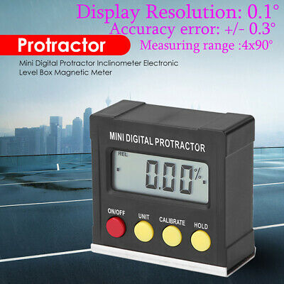 US Mini Digital Protractor Inclinometer level meter Digital Bevel Box 4 x 90°