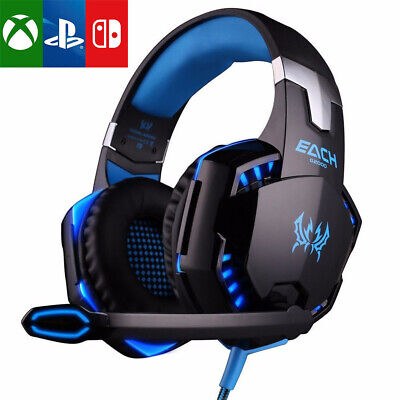 EACH 3.5mm Gaming Headset MIC LED Headphones for PC Laptop PS4 Pro Xbox One X S