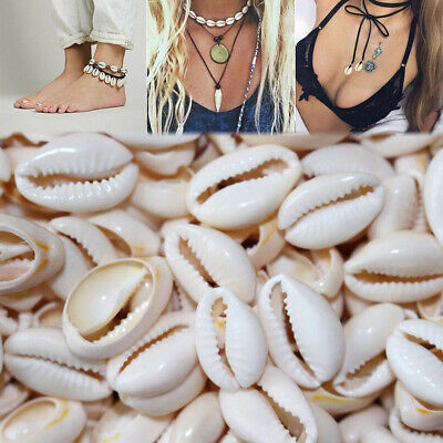 100pcs Drilled Natural Beach Cowry Cowrie Sea Shell Beads Tribal Jewellery Craft