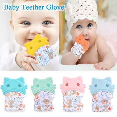 Baby Teether Molar Glove Soothe Emotions Kid Infant Teething Mitten Chewable Toy