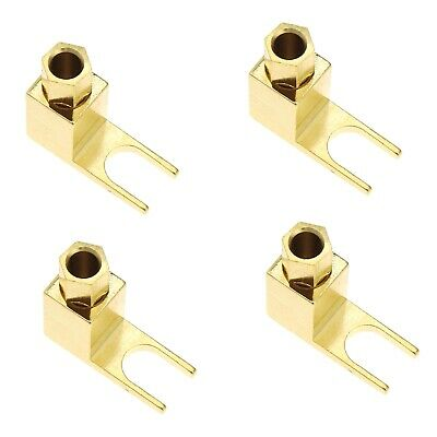 4pcs Brass Gold Plated Banana to Spade Adapter Plug for Audio Cables Adapters