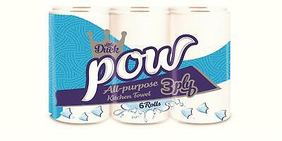 Task Pow 3 Ply Kitchen Roll All-Purpose Paper Towel (4 packs of 6 - Total 24)