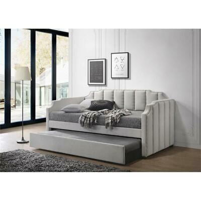 ACME Peridot Daybed & Trundle (Twin Size) in Dove Gray Velvet