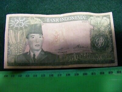 INDONESIA   RP25 Banknote,Pres. Sukarno, good used condition...SCARCE.