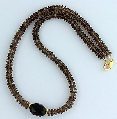 Smoky Quartz Necklace Precious Stone Beads Brown Ladies 45 CM