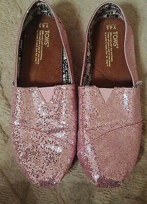 507e2c25d4d1 Girls Toms Classic Rose Pink Glitter Flats Slip On Shoes size youth 4.5