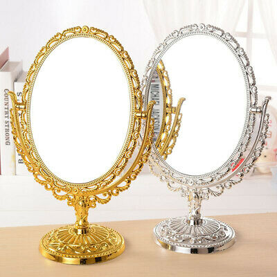 11'' Vintage Dual Side Swivel Antique Oval Makeup Shave Mirror Desktop Vanity US