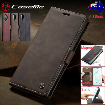 Samsung Galaxy S10+ Note 10+ Plus Case Magnetic Leather Wallet Flip Stand Cover