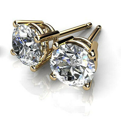 1.50 Ct Round Cut Diamond Stud Earrings 14K Solid Yellow Gold 4 Prong Earring