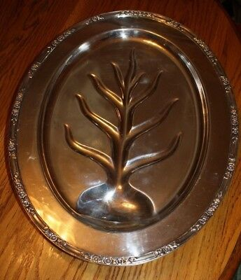 "Rogers Brothers Sterling Silver Plate Footed Meat Turkey Platter Tray 18"" x 14"""