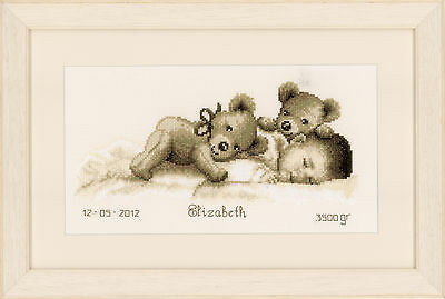 Sleeping With Teddy : Vervaco Counted Cross Stitch Kit - PN0143730