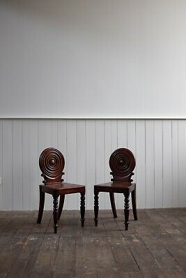 Pair Of Regency Mahogany Hall Chairs - Manner Of George Bullock