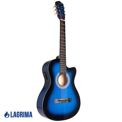 """38"""" Cutaway Design Electric Acoustic Guitar with Guitar Case, Strap and Tuner"""