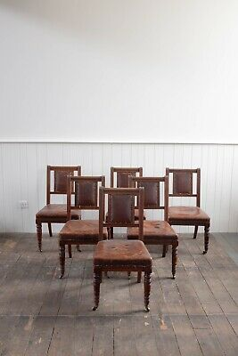 Set Of Six Gillows Reformed Gothic Chairs With Original Leather Upholstery