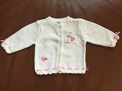 NEW THE CHILDRENS PLACE Infant Girls Size 6-9mos White and Pink Cardigan