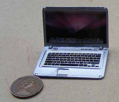 1:12 Scale Silver Metal Apple Mac Air Opening Laptop Computer Tumdee Dolls House