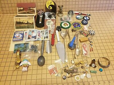 Large Junk Drawer Lot Jewelry Nik Naks Buttons Watch Kitchen Sports Cards Knife