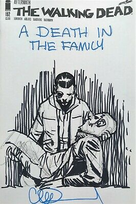 Walking Dead #192 Blank Cover DEATH IN THE FAMILY Sketch & Signed Charlie Adlard
