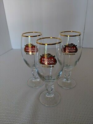 3 NEW Stella Artois Chalice 33 CL Beer Glasses Pub Bar Goblet Man Cave Belgium