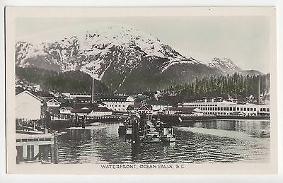 Waterfront OCEAN FALLS British Columbia Canada Gowen Real Photo Postcard