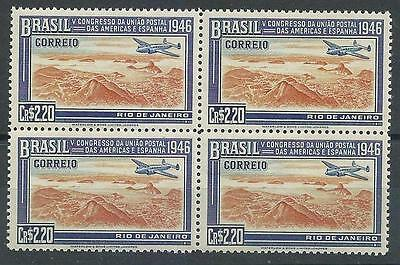Brazil 1946 Sc# 649 Postal Union Congress US Spain Plane $2.20 block 4 MNH