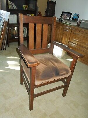 Antique Mission Style Oak Chair with Suede Seat Arts & Crafts *pick up only*