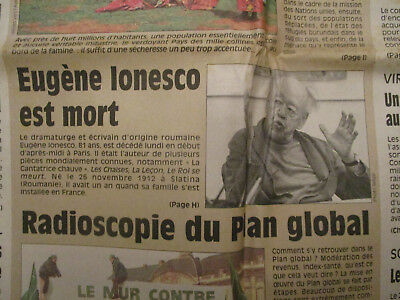 Journal Du Deces De : Eugene Ionesco - 29/03/1994 -
